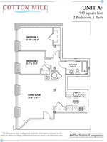 Unit A 2 Bed 1 Bath 943 Sq. Ft.