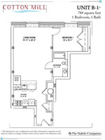 Unit B-1 - 1 Bedroom, 1 Bath - 784 Sq. Ft.