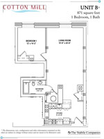 Unit B - 1 Bedroom, 1 Bath - 871 Sq. Ft.