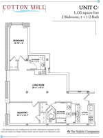 Unit C - 2 Bedroom, 1 + 1/2 Bath - 1,130 Sq. Ft.