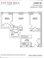 Unit D - 2 Bedroom, 1 Bath - 912 Sq. Ft.
