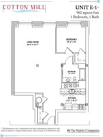 Unit E-1 - 1 Bedroom, 1 Bath - 960 Sq. Ft.