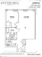 Unit E - 1 Bedroom, 1 Bath - 929 Sq. Ft.