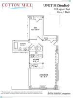 Unit H - Studio, 1 Bath with Den - 818 Sq. Ft.