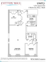 Unit J - 1 Bedroom, 1 Bath with Den - 1,211 Sq. Ft.