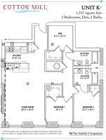Unit K - 2 Bedroom, 2 Bath with Den - 1,337 Sq. Ft.